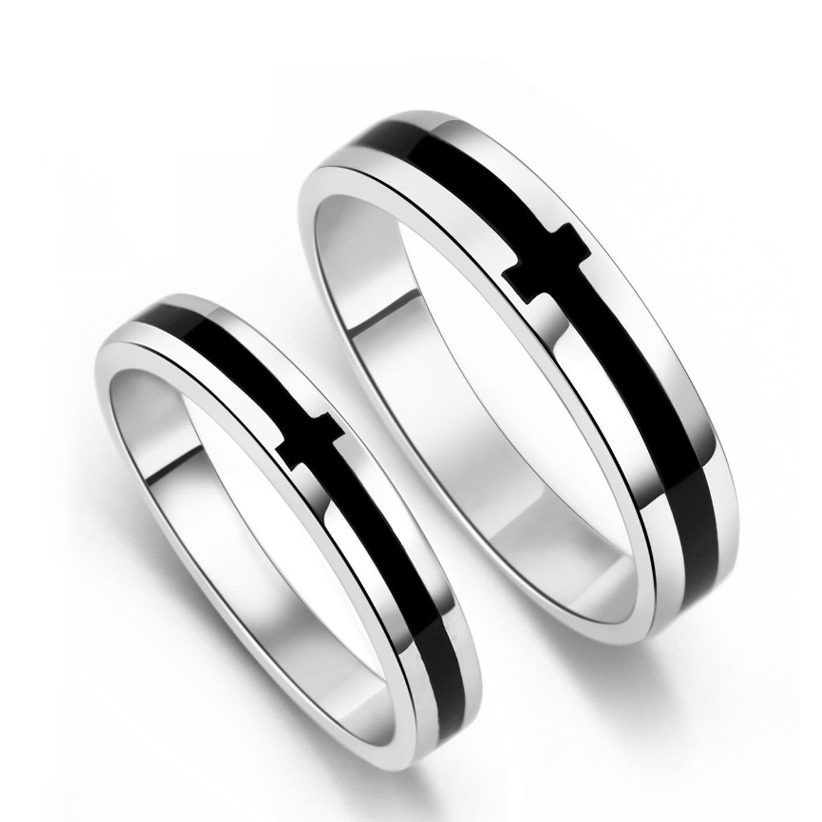 couples wedding bands Black Onyx S Sterling Silver Mens Ladies Couple Promise Ring Wedding Bands Matching Set Best