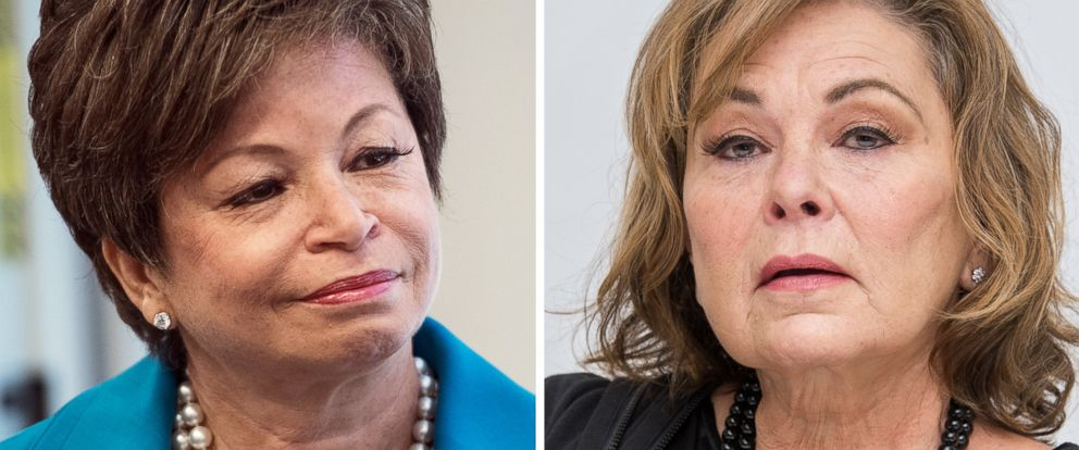 Roseanne  canceled after Roseanne Barr s racist tweet about Valerie     PHOTO  Valerie Jarrett speaks in Washington  May 31  2017 and Roseanne Barr  talks