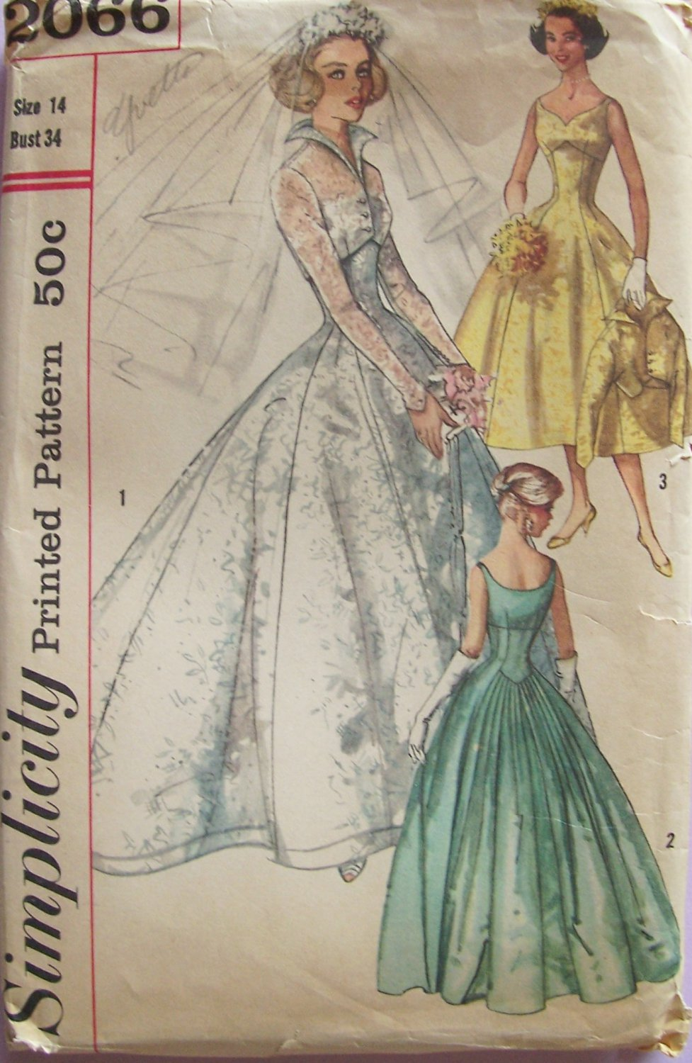 vintage 50s wedding dress patterns vintage wedding dress patterns Vintage 50s Simplicity Empire Sweetheart Neck Bridal Wedding