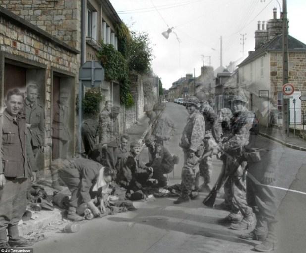 Soldados alemães na Rue des Fossés Plissons, em Orne (Foto: Jo Teeuwisse)