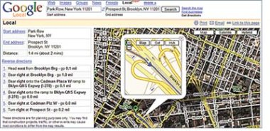 Google Local boasts three views of each map. Hybrid -- a satellite view with labeled streets -- is shown here.