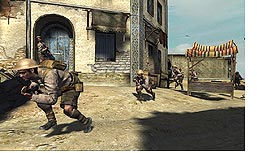 Soldiers hide in doorways and duck to avoid enemy fire in Call of Duty 2, a game that focuses on battles from World War II.