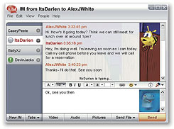 AOL's AIM 6.0 uses tabs to organize multiple IM conversations.