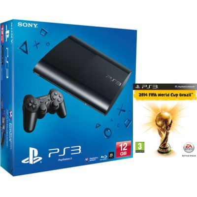 PS3: New Sony PlayStation 3 Slim Console (12 GB) - Black (Includes 2014 FIFA World Cup Brazil ...