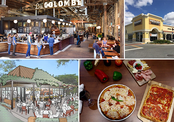 Clockwise from left: La Colombe, Pieology, Stellino's and Glass & Vine