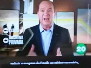 O candidato do PSC, Pastor Everaldo, durante o primeiro programa de TV no horário eleitoral (Foto: Reprodução)