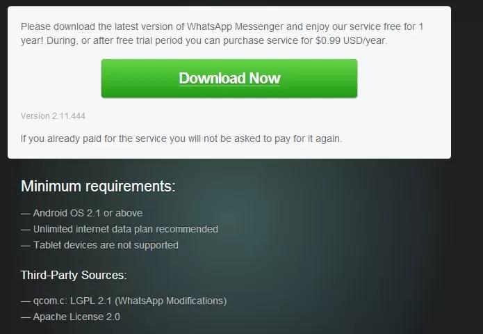 Baixe o WhatsApp direto do site da empresa (Foto: Reprodução/Thiago Barros)