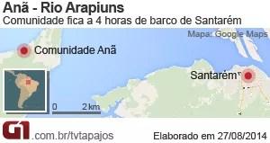 Mapa comunidade Anã (Foto: Andressa Azevedo)