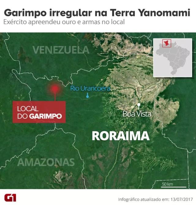 Garimpo ilegal em região de floresta próximo a fronteira com a Venezuela (Foto: Arte/G1)