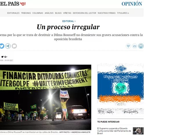Editorial do espanhol El País diz que processo de impeachment contra Dilma Rousseff é irregular (Foto: Reprodução/G1)