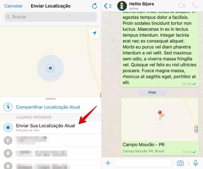 Compartilhando a sua localização estática WhatsApp para iPhone (Foto: Reprodução/Helito Bijora)