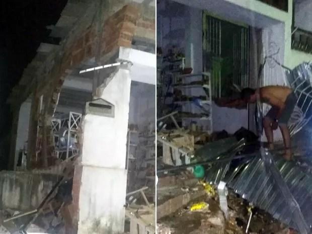 Botijão explodiu na noite de segunda-feira (14) no Loteamento Santana, em Carpina (Foto: Reprodução / WhatsApp)