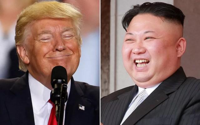 Montagem com o presidente dos EUA, Donald Trump, e o líder norte-coreano, Kim Jong Un (Foto: Carlo Allegri/Reuters; KCNA/via Reuters)