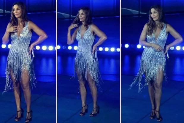 Ivete Sangalo: vestido bordado com cristais para gravação de DVD na Bahia (Foto: Divulgação e Francisco Cepeda/AgNews)