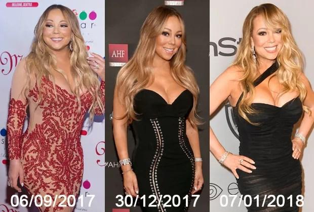 As mudanças no corpo de Mariah Carey após bariátrica, realizada no início de novembro (Foto: Getty Images)