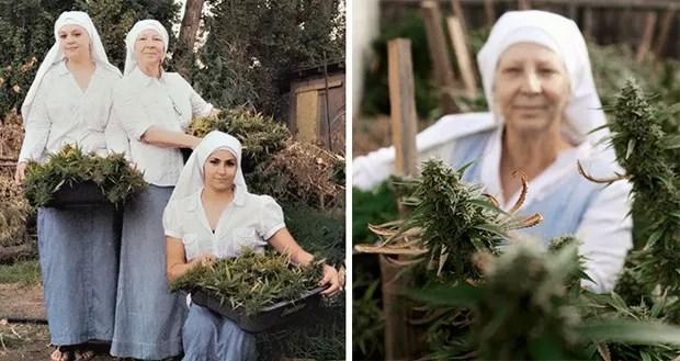 "As ""irmãs"" durante a colheita da planta e o preparo dos produtos derivados da erva (Foto: Shaughn and John)"
