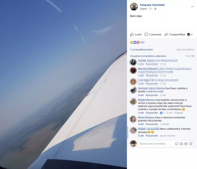 Caique postou foto horas antes do monomotor cair em Rio Preto (Foto: Reprodução/Facebook)