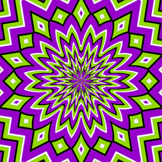 This illusion seems to pulsate towards the centre and back outwards again