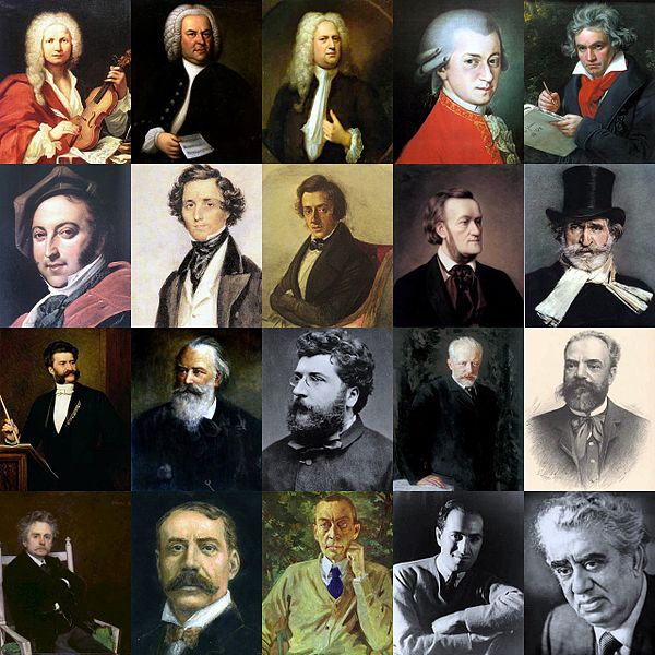 Images of several music composers with embeded audio clips