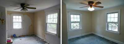Before and after wallpaper removal, window trim, wall and ceiling painting done by painting ...