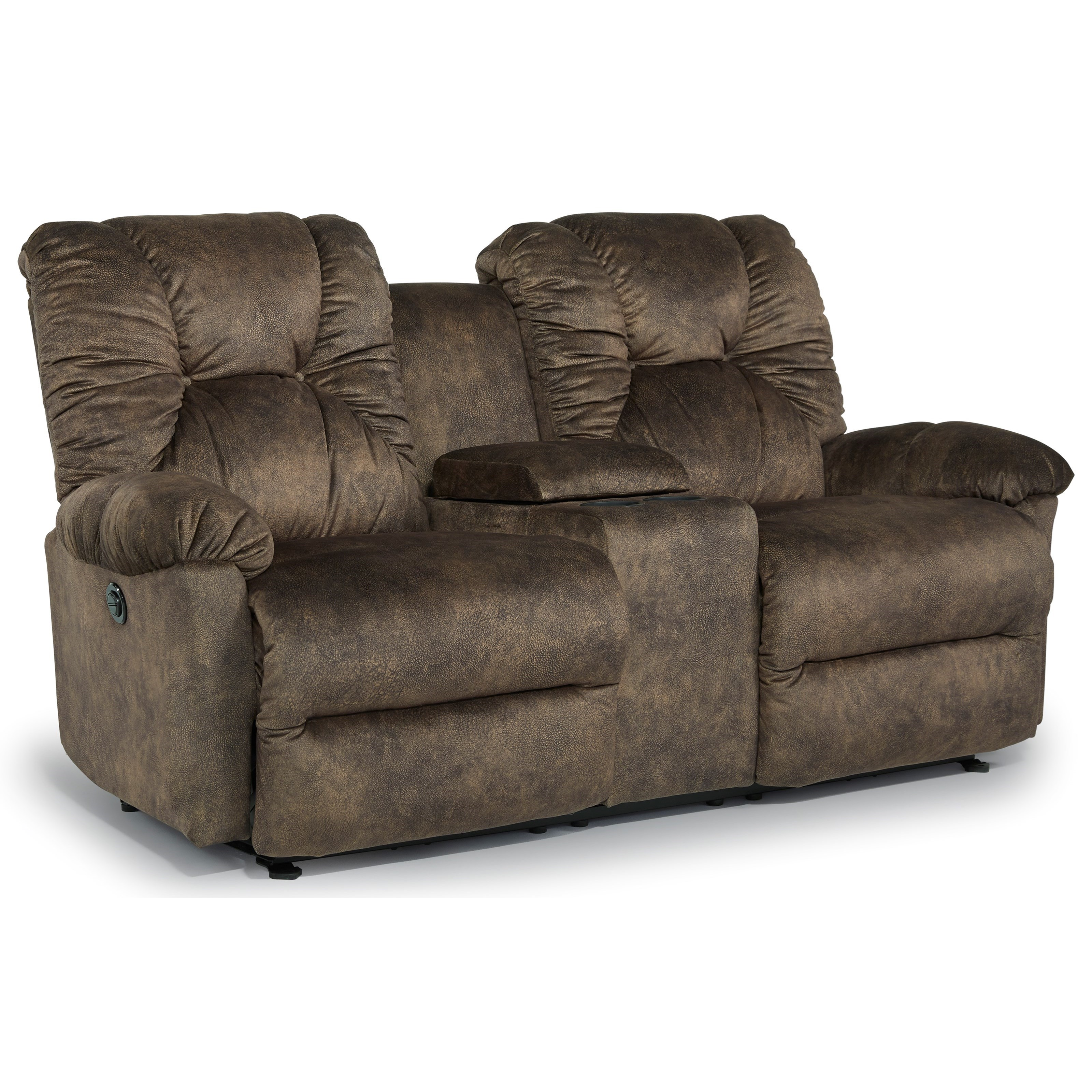 Casual Space Saver Reclining Loveseat With Cupholder Storage Console Recliner Cup Holder And Storage I53