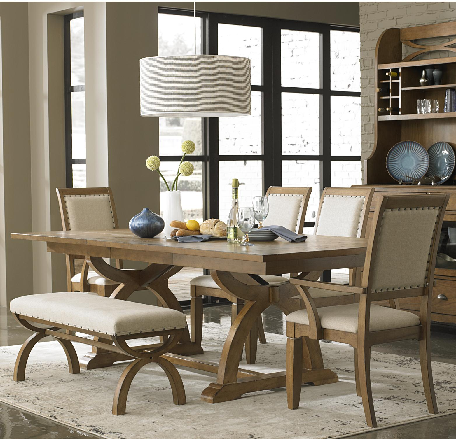 kitchen table bench 6 Piece Trestle Table Set with 4 Upholstered Chairs Dining Bench