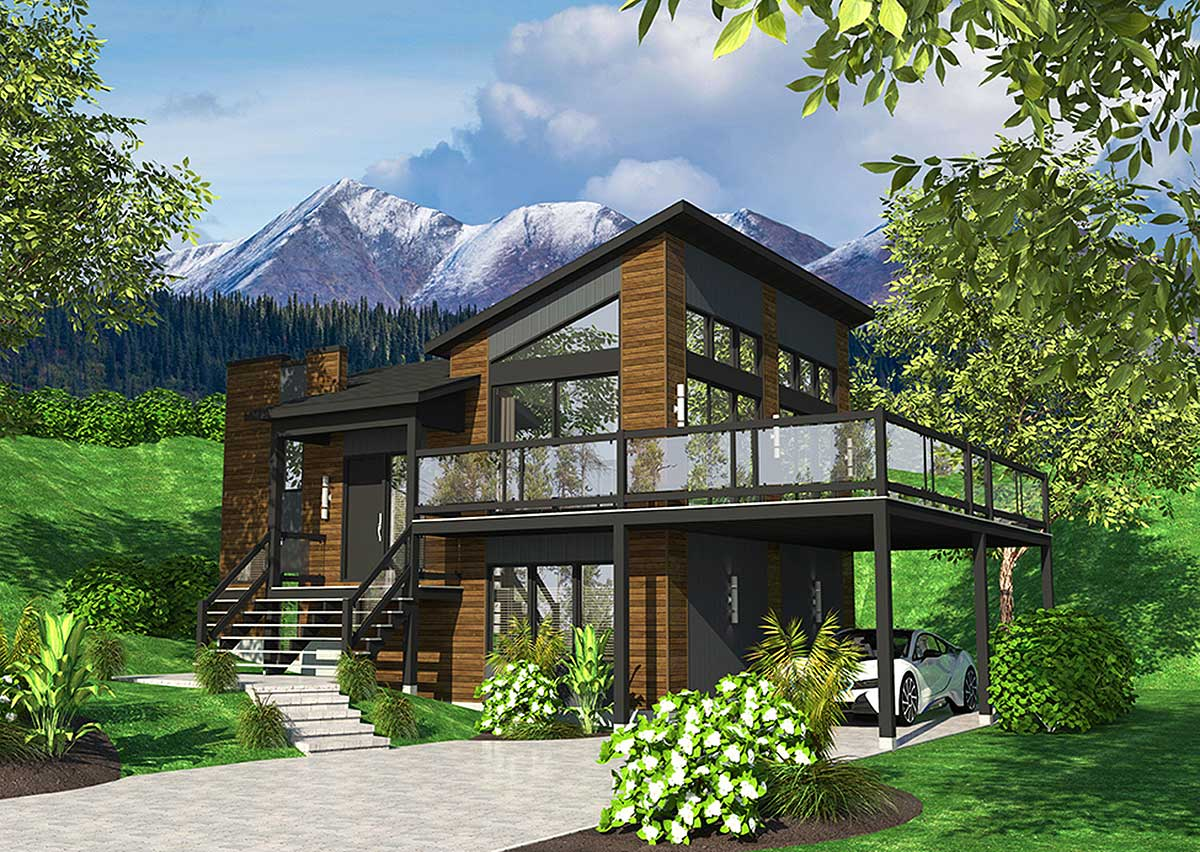 Exciting Contemporary House Plan - 90277PD | Architectural Designs - House Plans