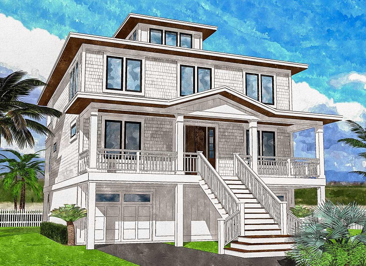 Upside Down Beach House with Third Floor Cupola - 15222NC ...