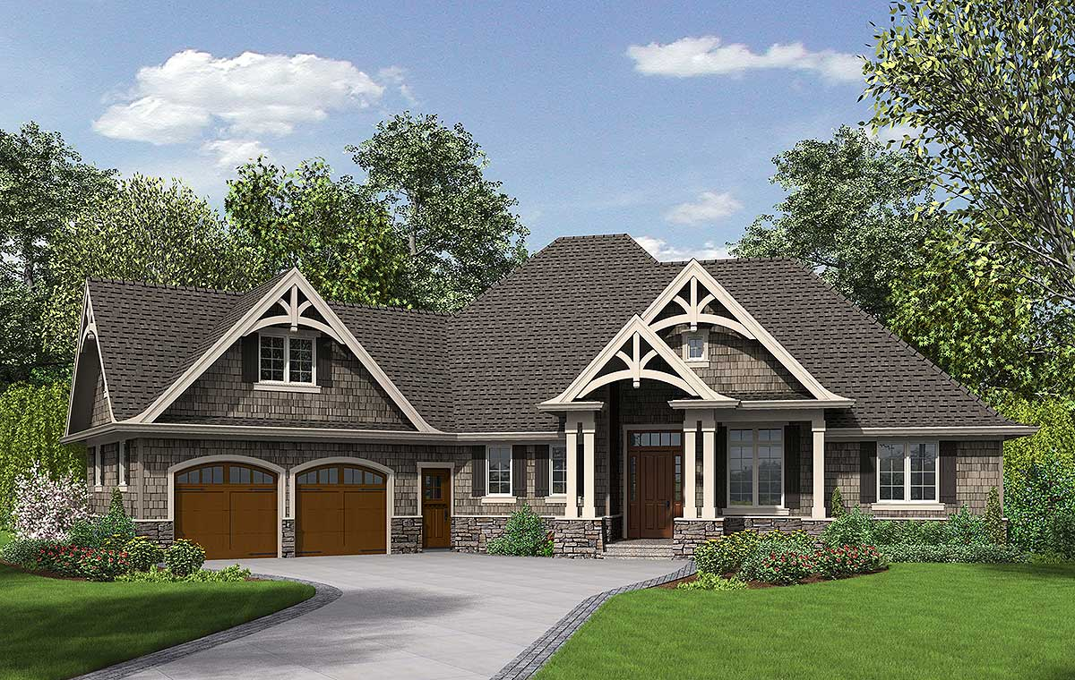 3 Bedroom Craftsman Home Plan - 69533AM | Architectural ...