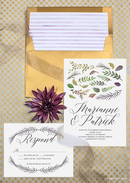 Gray Envelope Linersso Stay Follow Us On Twitter Or Instagram To See Watercolor Leaf Fall Wedding Invitations Lia Griffith Next Week We Will Be Sharing Matching Thank You Cards