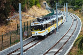 A test train along the Expo Line alignment in West LA. Photo: Metro.
