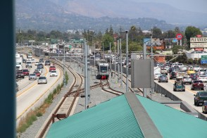 The tracks looking east from the current Gold Line terminus at Sierra Madre Villa Station in Pasadena.