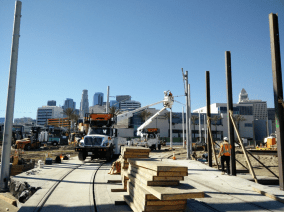 Installation of the overhead catenary system pole.