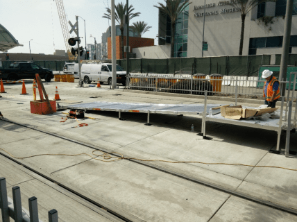Installation of the south side entrance ramp of Little Tokyo/Arts District Station.