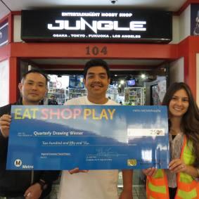$250 Winner: Entertainment Hobby Shop Jungle - Anime Jungle Los Angeles (left), Winner - Rene R. (center), Regional Connector Constructors (right)