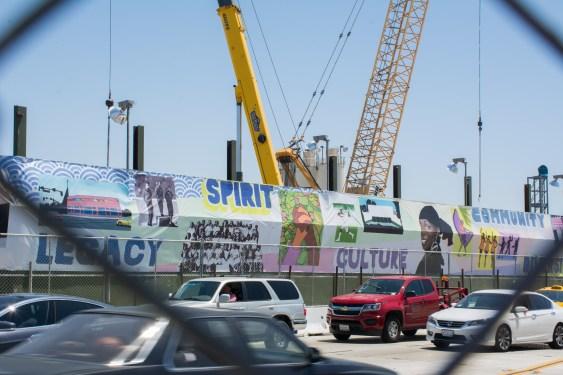 Temporary artwork banners along Crenshaw Boulevard near Crenshaw/Expo.