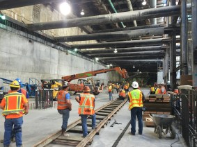 The tracks that carry Harriet the tunnel boring machine inside MLK, Jr. Station.