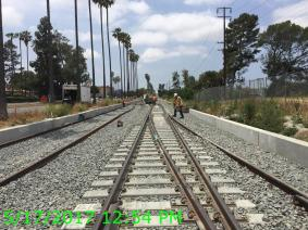 Track work between High Street and Centinela. Photo by Metro.