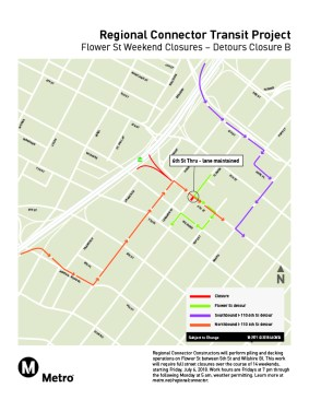 Flower St weekend closures, July 2018 - Detour B