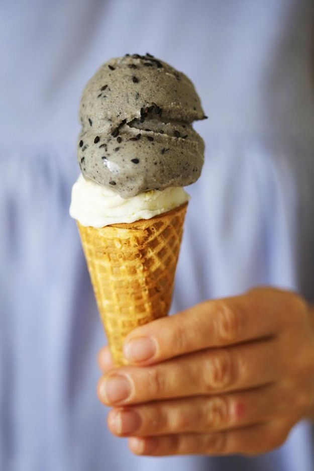 Vegan Black Sesame and Ginger Ice Creams
