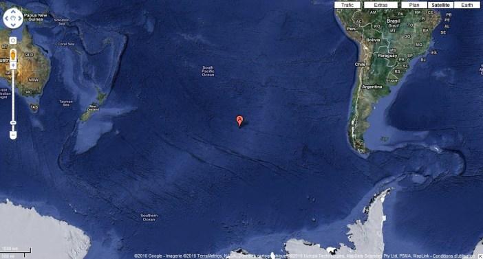 En el corazón del océano pacífico se establece el Punto Nemo, a 1,6 kilómetros de distancia equidistante de tierra firme