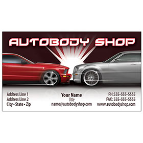 Full Color Auto Body Business Cards for Automotive Marketing   Auto     Full Color Auto Repair Business Cards   Flash