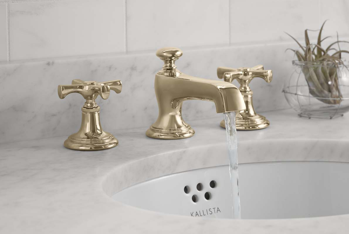 bringing brass back unlacquered brass kitchen faucet Kallista s Bellis in fresh unlacquered brass