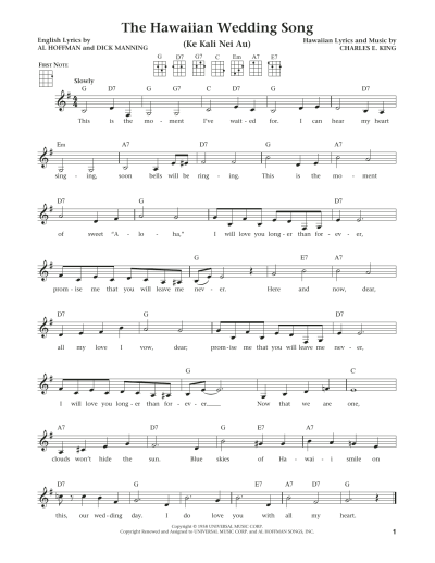 The Hawaiian Wedding Song (Ke Kali Nei Au) by Andy ...