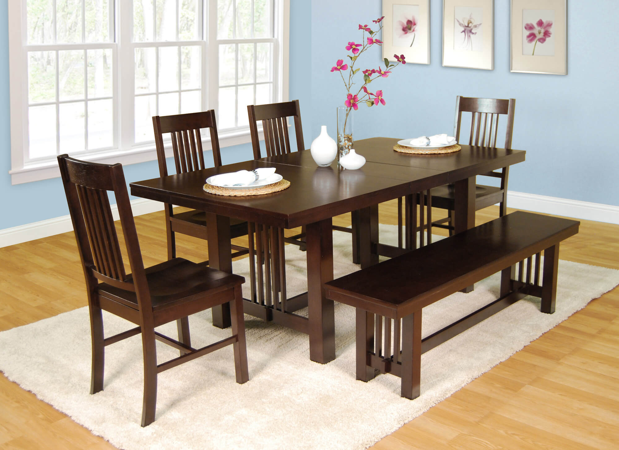 dining room sets bench seating small kitchen tables Here s a very solid dining set with bench Table can be extended with a center