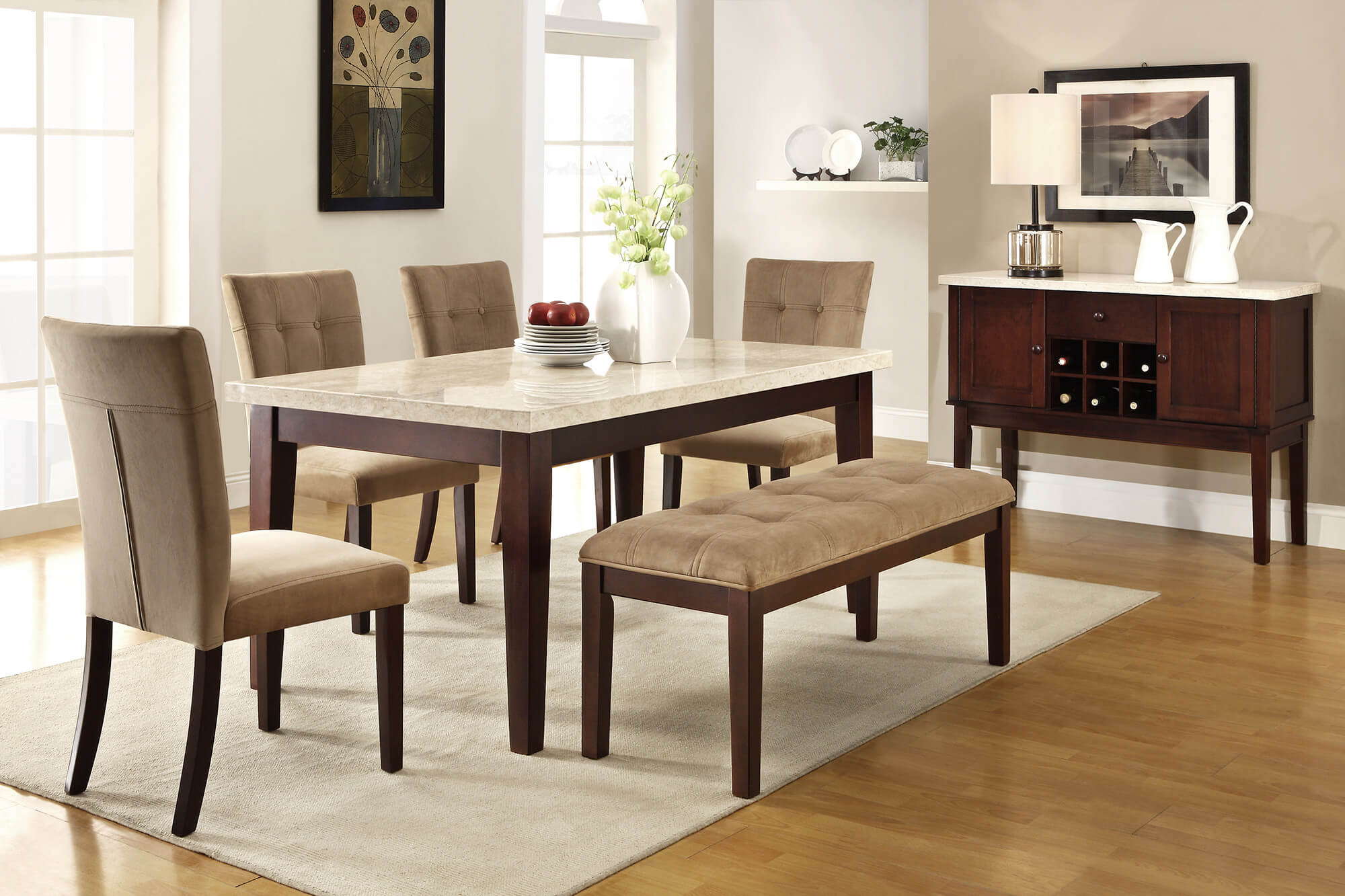 dining room sets bench seating kitchen table bench seat Here s a 6 piece rubberwood dining set with faux marble table top with tan upholstery for