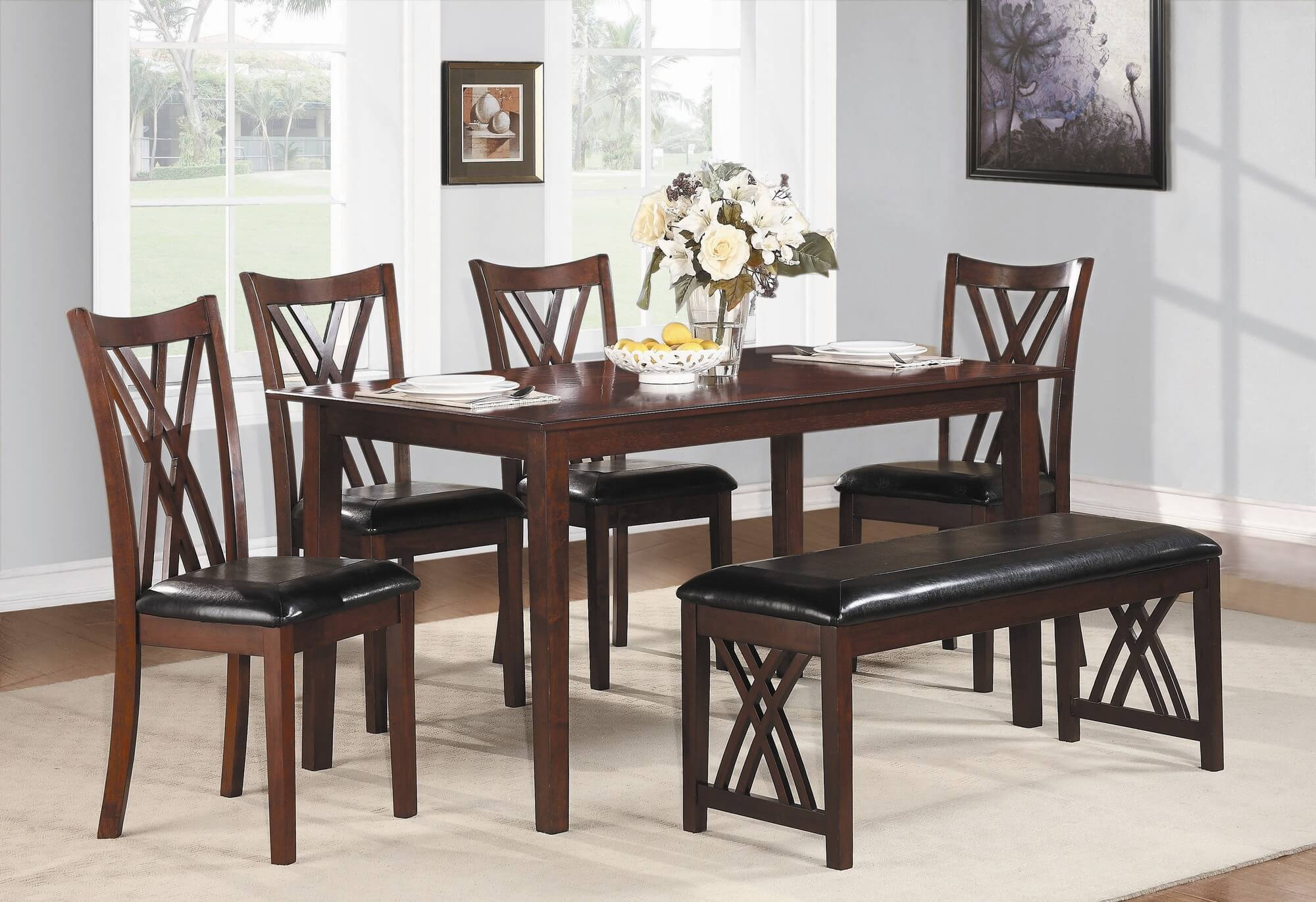 dining room sets bench seating small kitchen table set Six piece dining set with bench with a cherry finish and upholstered chairs and bench