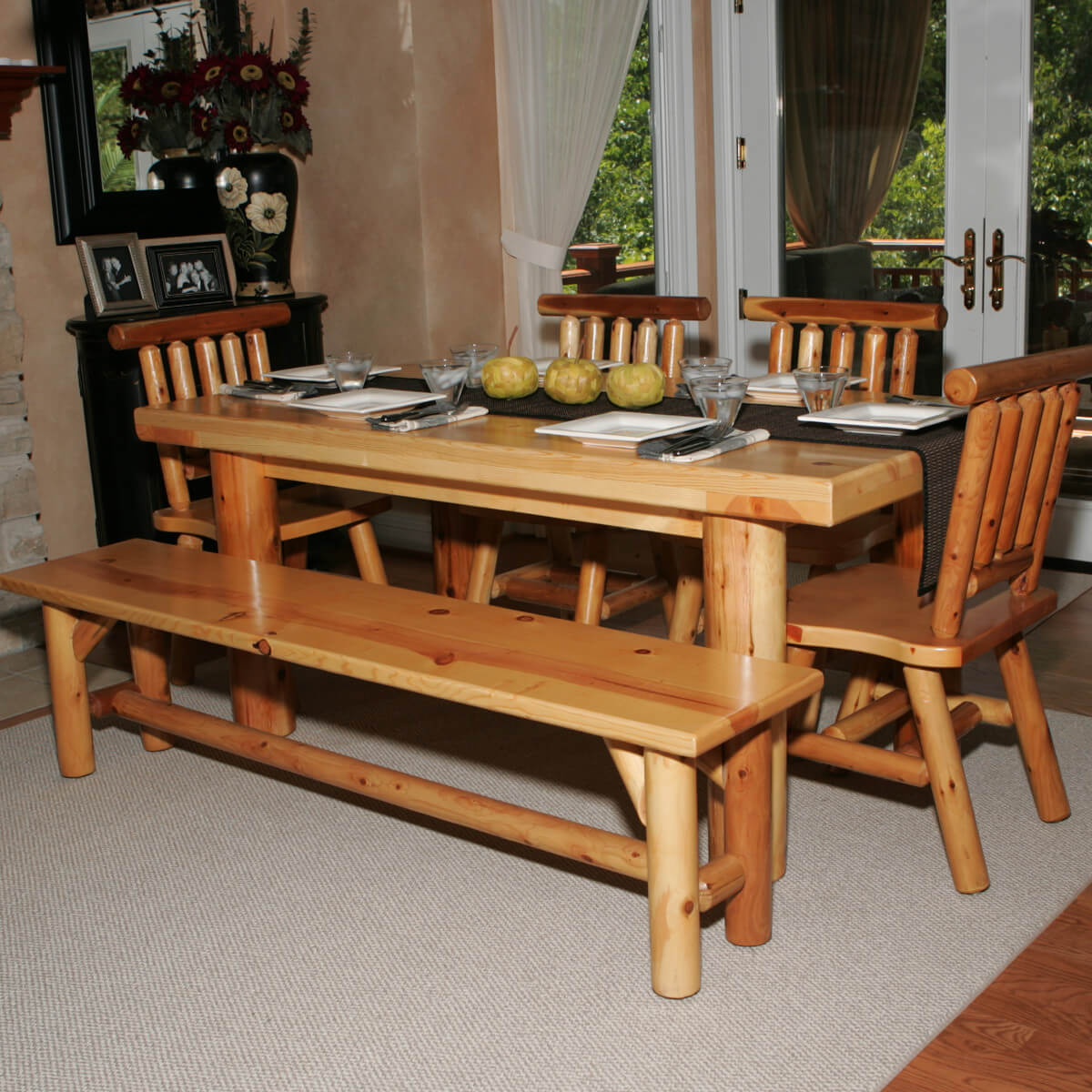 dining room sets bench seating kitchen table bench Here s a dining table set with bench perfect for the log cabin or home Seating