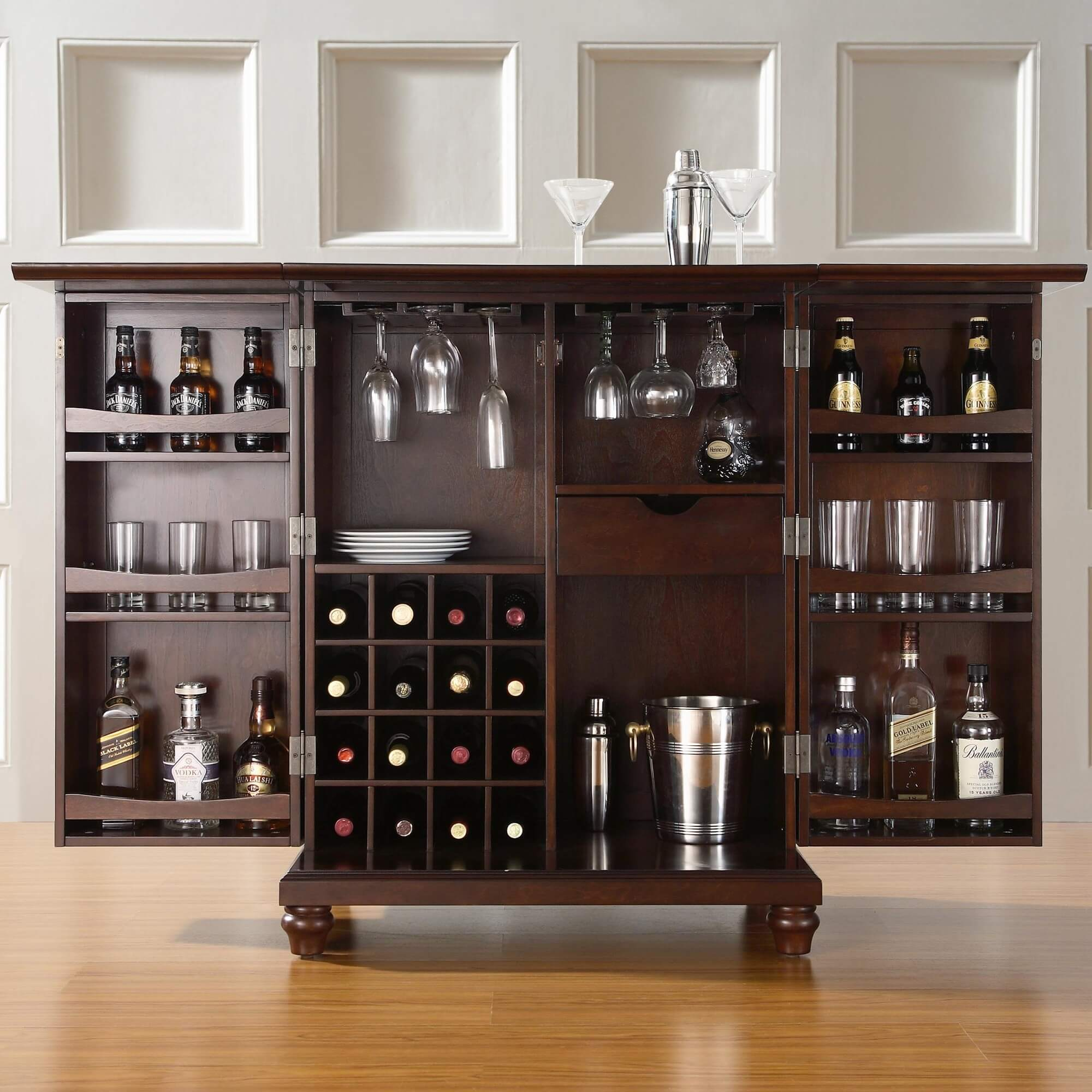 C Rear Storage View Of Elegant Compact Home Bar Cabinet Set