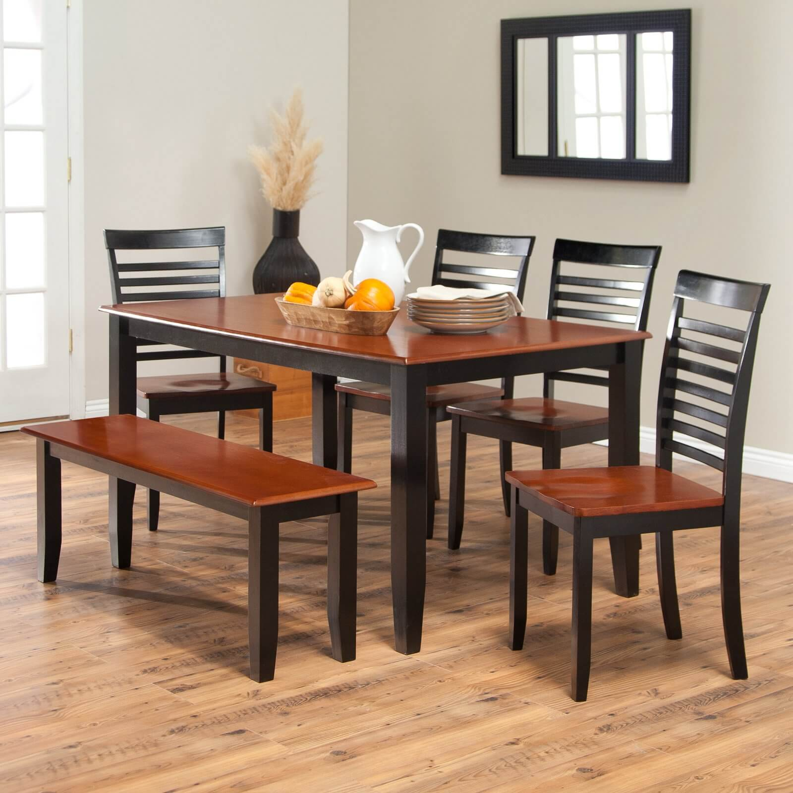 dining room sets bench seating two tone kitchen table Simple two toned dining set with bench The seats and table top are cherry